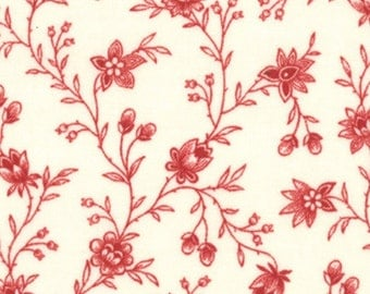 """LAST PIECE 14.5"""" Lario Ivory Scarlet Floral Garden Vines by 3 Sisters for Moda"""