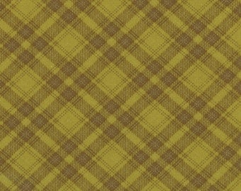 1 yard Posh Pumpkins Moss Plaid by Sandy Gervais for Moda