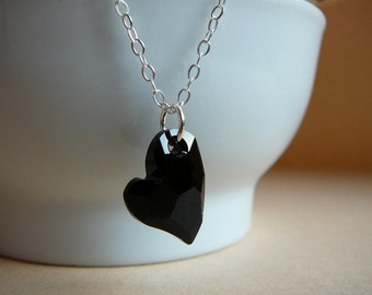 Black Swarovski Devoted 2 U Heart pendant - Sterling silver chain - Love gift necklace - Free shipping to Canada & USA