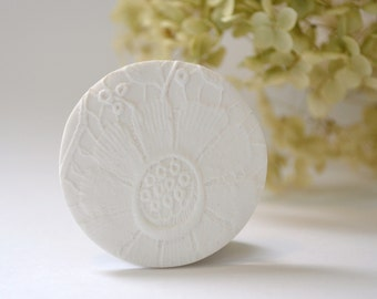 white round floral brooch - white textured brooch - bridesmaid gift - corsage brooch - white clay brooch - unique embossed brooch - white