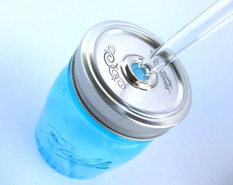 Blue Mason Jar To Go Cup with Customized Glass Straw- 16 ounce