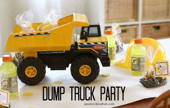DIY Modern Dump Truck Construction party printables NO – Dump Truck Party Invitations