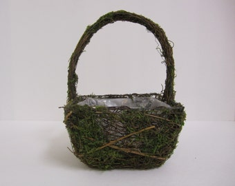 Moss and Twig Flower Girl Basket or planter - Small and Square