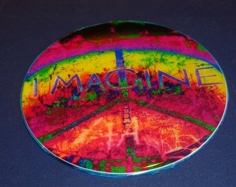 Imagine Peace Recycled CD Wall / Magnet Art