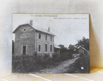 Antique French Photograph School House on Board Postcard Sample country life schoolhouse