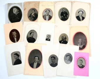 Antique Tintype Photographs - Lot of 15 tintypes - Mixed Media, Altered Art, Collage, Assemblage Supplies