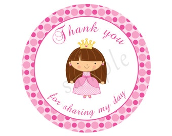 INSTANT DOWNLOAD Pink Princess Party Thank you Tags Labels - Polka Dots Girl Baby Shower Favors Birthday Party Favors Party Decorations