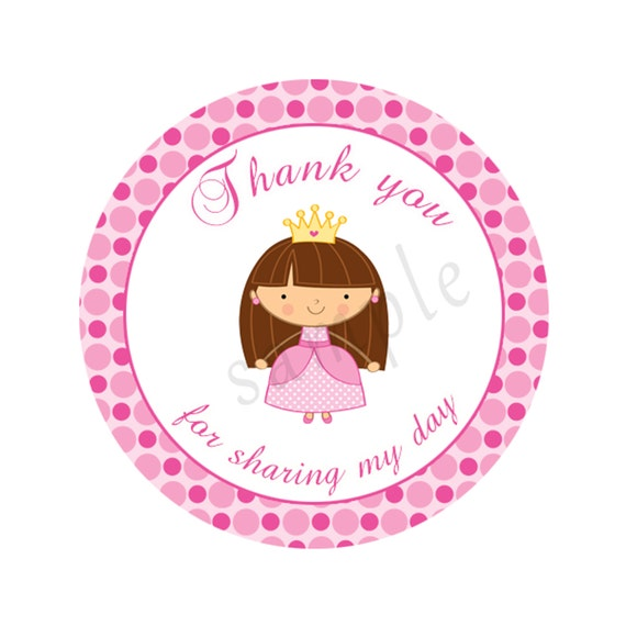 INSTANT DOWNLOAD Pink Princess Party Thank You Tags By