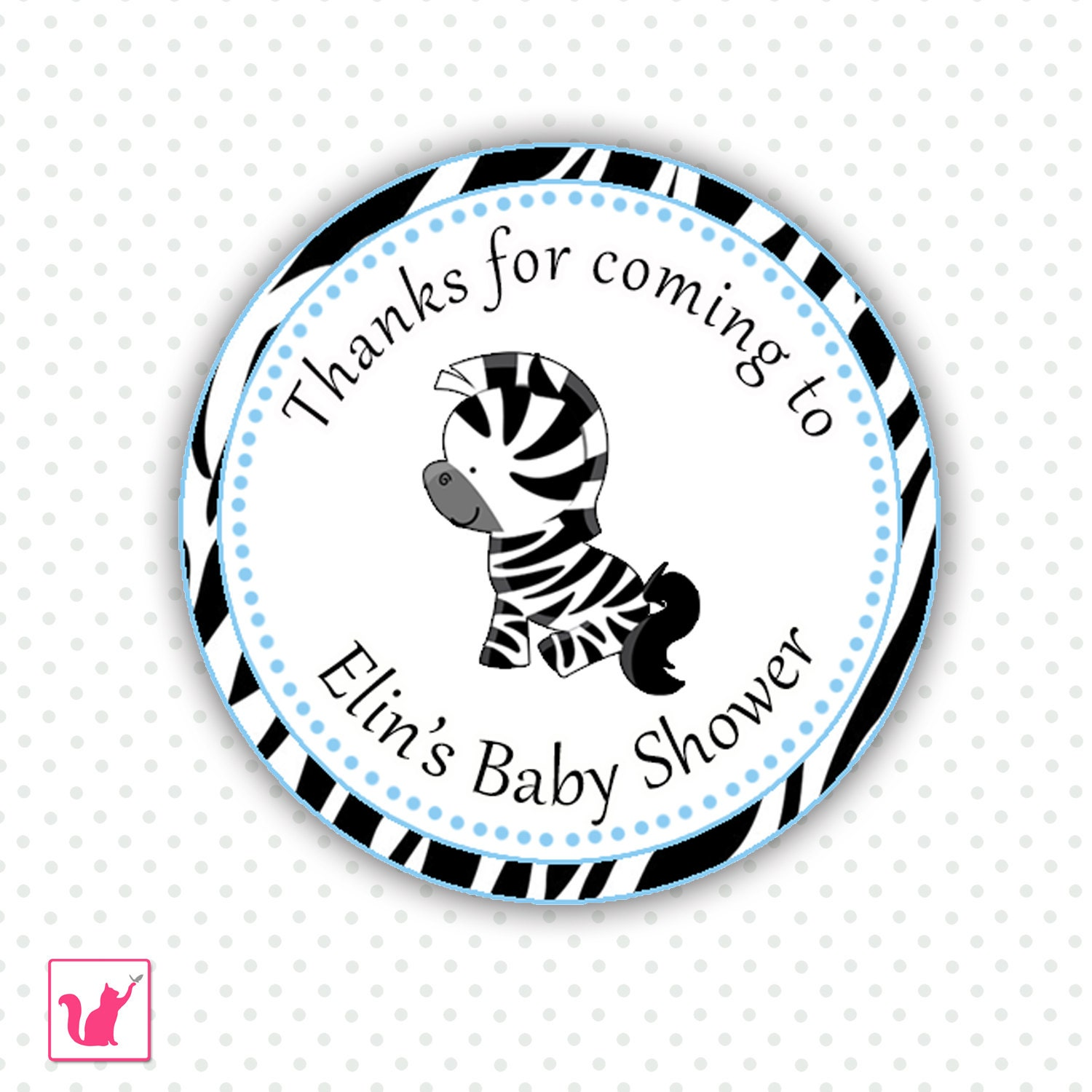 printable personalized cute jungle zebra thank you tag blue