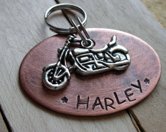 Harley Pet ID Tag-Custom Handstamped Dog ID Tag--Copper Oval Tag with Harley Davidson Motorcycle