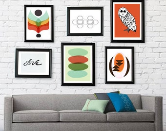 Mid Century Modern Pick Your 3 Prints // Free Shipping