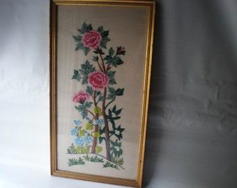 SALE Vintage Needlework Embroidery Crewel Floral Picture Framed under Glass