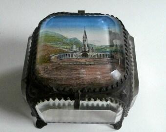 Ormolu Engagement Ring Box Napoleon III Era Design 1800s Eglise Du Rosaire et Basilique Lourdes France Church Lourdes
