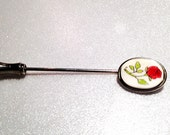 Vintage lapel pin or stick pin, floral rose on white accessory for a collar or lapel, brooch or hat pin