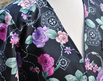 Floral Vintage Womens Spring Blazer Jacket Multi-color 10 Petite
