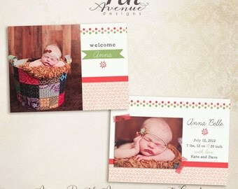 "INSTANT DOWNLOAD -- Anna 7x5"" Birth Announcement photo templates"