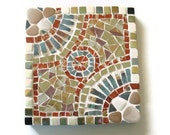 Reserved for Julia Trivet  Mosaic Wall Art Hanging Brown Turquoise Terracotta Handmade Pottery Ceramic Earth Tones