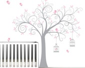 Children Nursery Wall Decal Tree with Birdcages-Vinyl Wall Decals Art