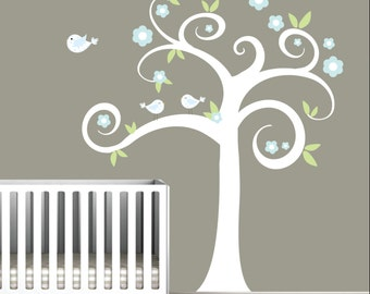 Wall Decals Nursery Tree Decal with Birds-Children Decal Vinyl