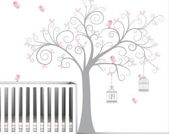 Children Nursery Wall Decal Tree with Birdcages-Vinyl Wall Decals Art