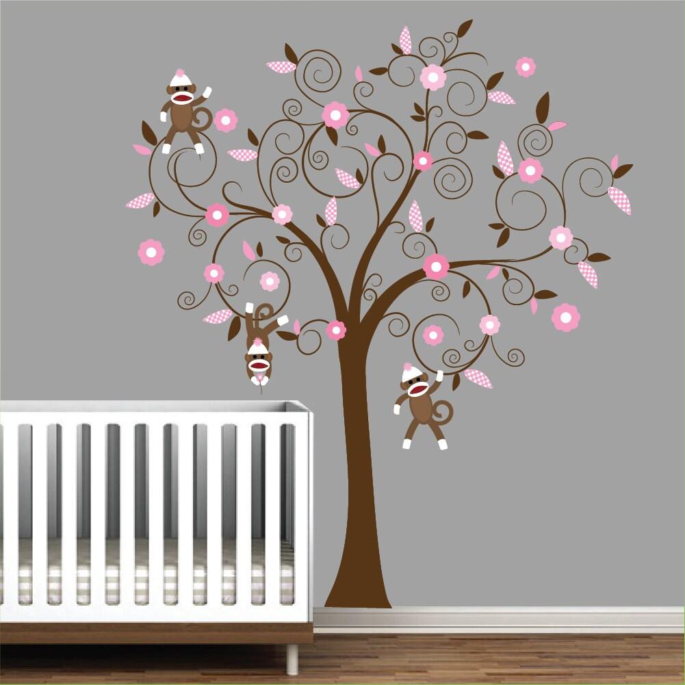 children vinyl wall decal nursery tree decal with sock monkeys