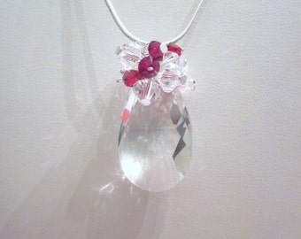 Sweet Swarovski Crystal Faceted Pear Drop Briolette Necklace / Pendant Accented with Red and Clear Bicones on a Sterling Silver Chain