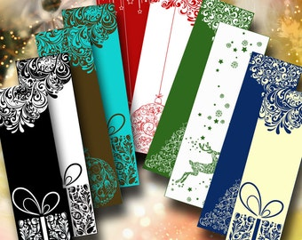 STYLIZED CHRISTMAS TAGS - 5 Digital Collage Sheets with reindeer, trees, stars, deers - Buy 3 Get 1 Extra Free - Instant Download