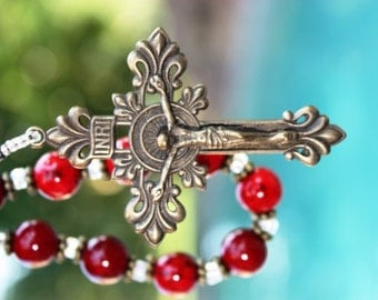 Rosary Chaplet in Gorgeous Red Riverstone and Antique Replica Bronze Crucifix