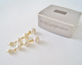 Vintage 1988 Avon Faux Pearl Convertible Gold Tone Ivory Off White Wedding Bridal Drop Stud and Dangle Earrings in Original Box NIB