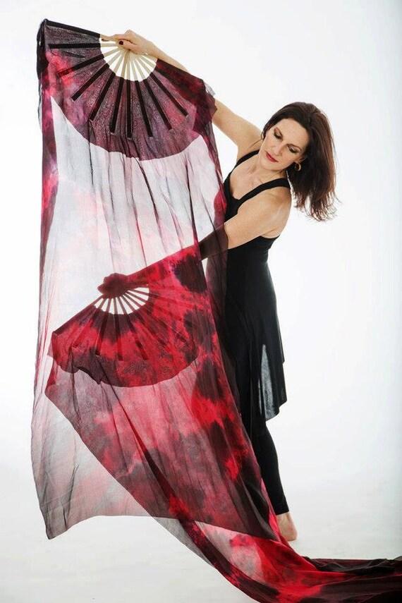 Fan Veil Set (2)-Nebula Series-Fire Red/Black