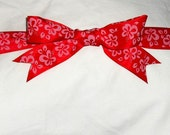 Red with Pink Flowers Ribbon