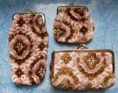 RESERVED FOR SANDY   ---- Vintage Kitsch Carpet bag floral coin purse, eye glass case , make up clutch