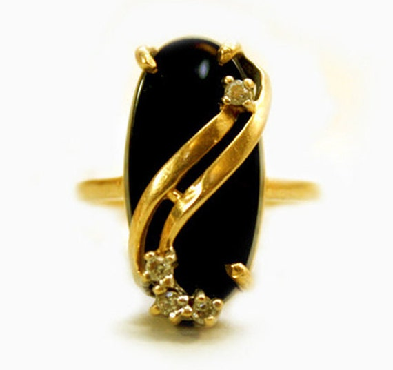 Gold Diamond Ring Black Onyx Womens Art Deco Ring 14 Karat