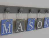 Blue and Gray Baby Boy Nursery Decor Name Sign Set Includes Personalized Alphabet Wall letters and Grey 5 Wooden Pegs. Custom Planks - MASON