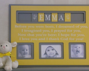 Yellow and Gray Personalized Baby Nursery Decor, Picture Frame, Custom Children Photo Frame  - Painted Grey Yellow