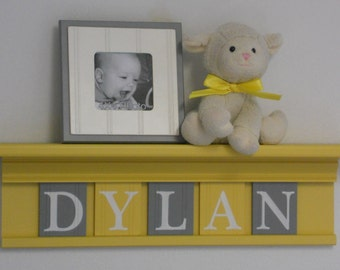 Yellow and Gray Nursery Wall Art - Baby Boy Nursery Decor - Personalized Yellow Shelf - Custom Name Wooden Wall Letters