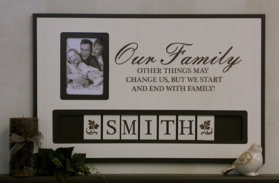 Personalized Picture Frame With Family Name Quote Family: Personalized Family Name Photo Frame Custom By NelsonsGifts