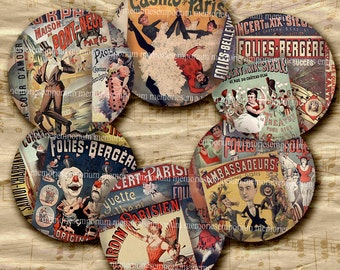Paris Theater Nightclubs Cabaret Decoupage 2 inch Circles Antique Nightlife Buttons Magnets Compacts Digital Collage Sheet Download 231