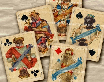 Playing Cards Dogs Antique Card Games Vintage ATC ACEO Decoupage Backgrounds Shabby Chic Digital Collage Sheet Printable Download 285