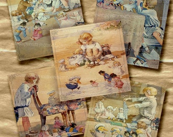 Childrens Story Book Illustrations Storybook 2 inch Squares Decoupage Picture Girl Dolls Nursery Digital Collage Sheet Download 232