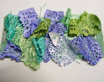 """Fabric cuff bracelet """"Ocean song"""" in turquoise, green, blue and lilac"""