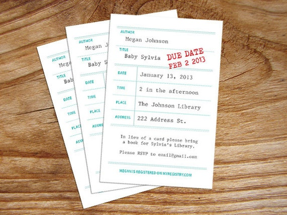 library book themed baby shower invitation customized digital file