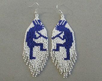 Beaded Kokopelli Earrings in Blue and White