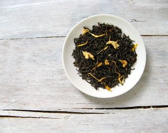 Vanilla Velvet Black Tea • 3.5 oz. Kraft Bag • Hand Blended Loose Leaf Tea • Creamy Vanilla, Jasmine & Sunflower Petals