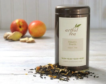 Ginger Peach Black Tea • 3 oz. Tin • Sweet Peach and Spicy Ginger Loose Leaf Tea