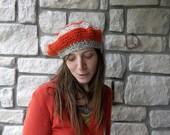 Orange Wool Beret / crochet womens slouchy fall spring summer hat french beret in neon orange