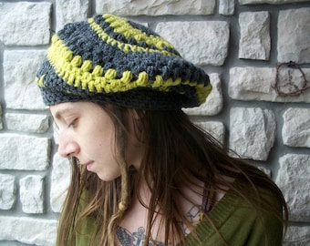 Crochet Slouchy Wool Beret in Spring Green and Grey / womens slouch french beret hat