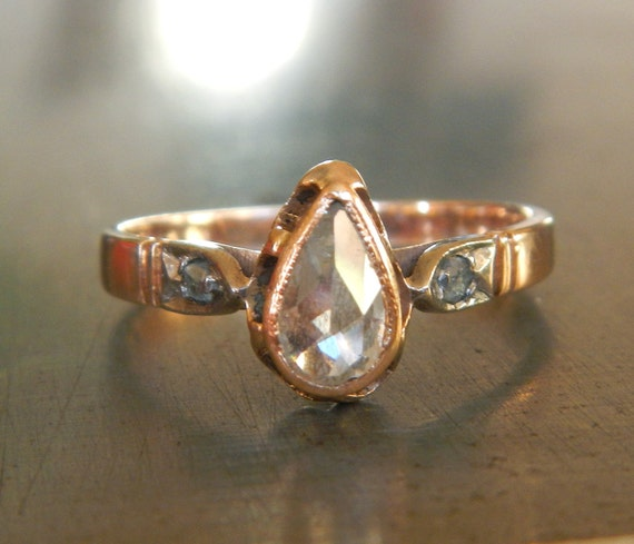 Diamond Engagement Ring With Rose Cut Pear Shape Diamond From