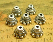 50 pcs Antique Silver Bead Caps 7x5mm Jewelry Making CH1498