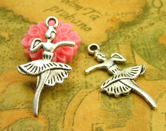 20 pcs Antique Silver Ballet Dancer Charms Double Sided 28x14mm CH1402